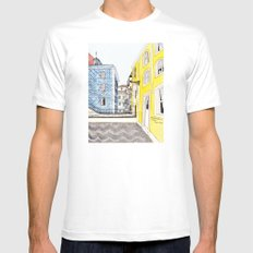 Beautiful Lisbon by Charlotte Vallance White MEDIUM Mens Fitted Tee