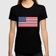 National flag of USA - Authentic G-spec 10:19 scale & color Womens Fitted Tee Black LARGE