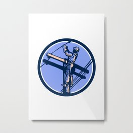 Power Lineman Repairman Climb Pole Retro Circle Metal Print