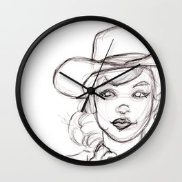 Pencil Drawing Sketch of Retro Girl in Cowboy Hat Wall Clock