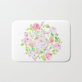 Bouquet of PINK & WHITE rose - wreath Bath Mat