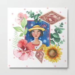 The Girl with Hat College Metal Print