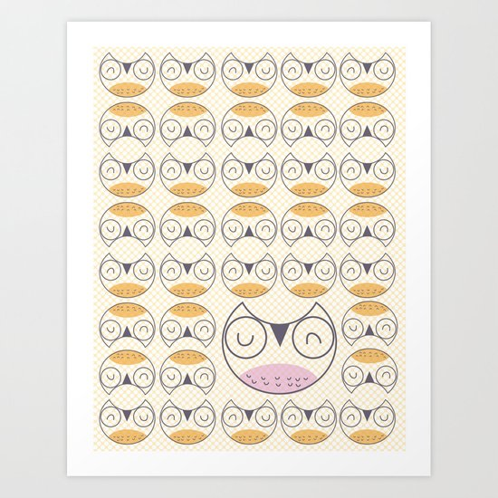 Owl pattern  1 Art Print