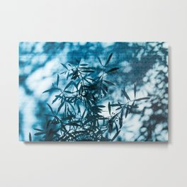 Olive tree leaves silhouette summer blue Metal Print