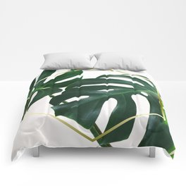 LUXE x Plant Life - Gold white planets lush Comforters
