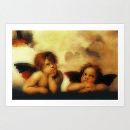 """Raffaello Sanzio da Urbino """"Sistine Madonna"""", 1513-1514 - angels (1) Art Print"""