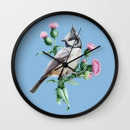 Botanical Tit Bird Wall Clock