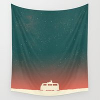 budi satria kwan Wall Tapestries featuring Quiet Night - starry sky by Picomodi