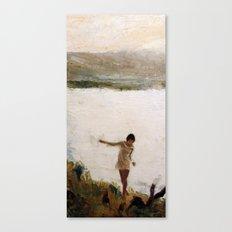 Lake and Girl Canvas Print