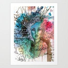 Floral Lady Art Print