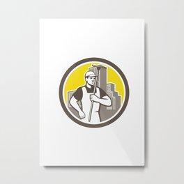 Window Cleaner Worker Holding Squeegee Circle Metal Print