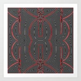 Maze Texture Red Black and White Design Art Print