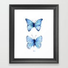 Two Blue Butterflies Watercolor Animals Insects Framed Art Print