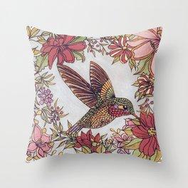 Hummingbird In Flowery Garden Wreath Throw Pillow