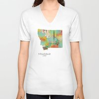 montana V-neck T-shirts featuring Montana state map  by bri.buckley
