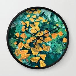 Rose Petals in Pool Water Art | Abstract Yellow Rose Floral Watercolor Art Print Wall Clock
