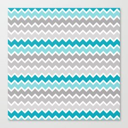 Turquoise Teal Blue Gray Chevron Canvas Print