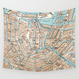 Vintage Map of Amsterdam (1905) Wall Tapestry