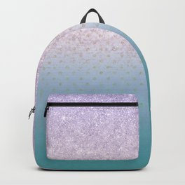 Modern faux lilac glitter teal purple ombre polka dots Backpack