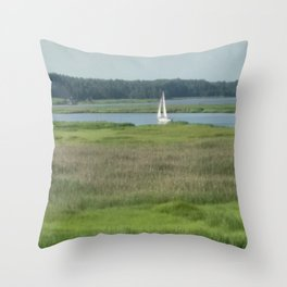 sailboat on the river Throw Pillow
