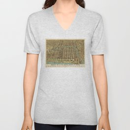 Bird's Eye View of the Business District of Chicago, Illinois (1898) Unisex V-Neck