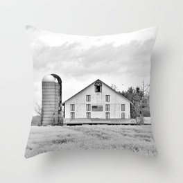 Barn and Silos BW Throw Pillow