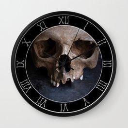 Male skull on rusty metal background Wall Clock