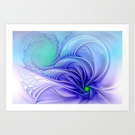 centered, turquoise and blue Art Print