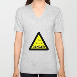 Triangle Barbed Wire Warning Sign Unisex V-Neck