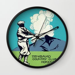 Japanese Golfer Vintage Matchbox Label Poster Wall Clock