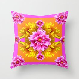 FUCHSIA PINK DAHLIAS & YELLOW SUNFLOWERS GARDEN ART Throw Pillow