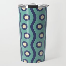 Mid Century Modern Rising Bubbles Pattern Turquoise and Blue Travel Mug