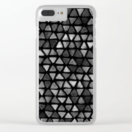 Triangle Watercolor Seamless repeating Pattern - Black and White Clear iPhone Case