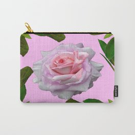 PINK GARDEN ROSE GREEN LEAVES ABSTRACT Carry-All Pouch