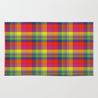 plaid Area & Throw Rugs featuring Colors Plaid by DesignsByMarly