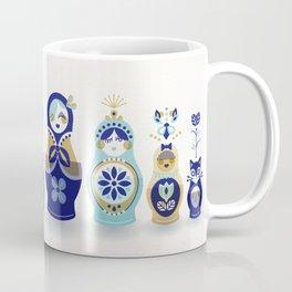 Russian Nesting Dolls – Blue & Gold Coffee Mug