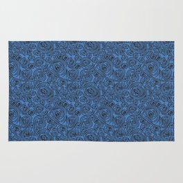 Black and Blue Abstract Circles Rug