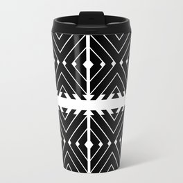 MONOCHROMA Geometrica : Black & White Box Pattern Travel Mug
