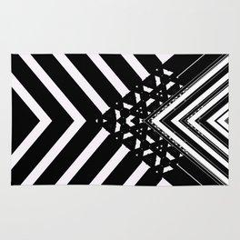 Modern Minimal Black White V Patten Rug