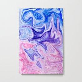 Pink Blue Marble Art Metal Print
