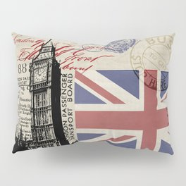 London Great Britain Big Ben Flag Collage Pillow Sham