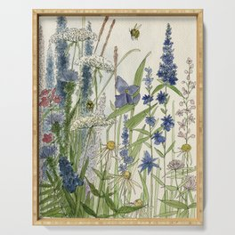 Wildflowers 2 watercolor Serving Tray