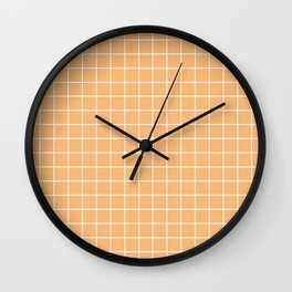 Mellow apricot - pink color - White Lines Grid Pattern Wall Clock