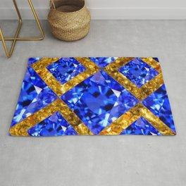 ASYMMETRIC ROYAL BLUE SAPPHIRE GEMSTONES ART ON GOLD Rug