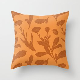 Block Print Marigold Floral in Orange Throw Pillow