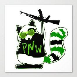 PNW Rebel Raccoon AK47 Canvas Print