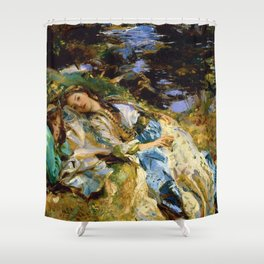 1907 Classical Masterpiece 'The Brook' by John Singer Sargent Shower Curtain