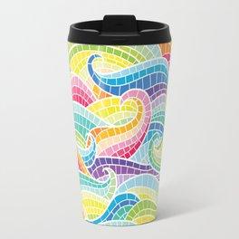 Rainbow mermaid wave Travel Mug