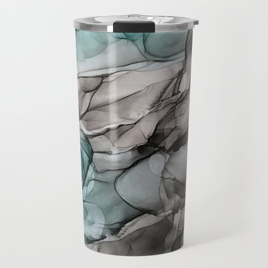 Smoky Grays and Green Abstract Flow by elizabethschulz
