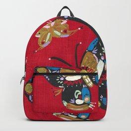 Red Folk Butterflies Backpack